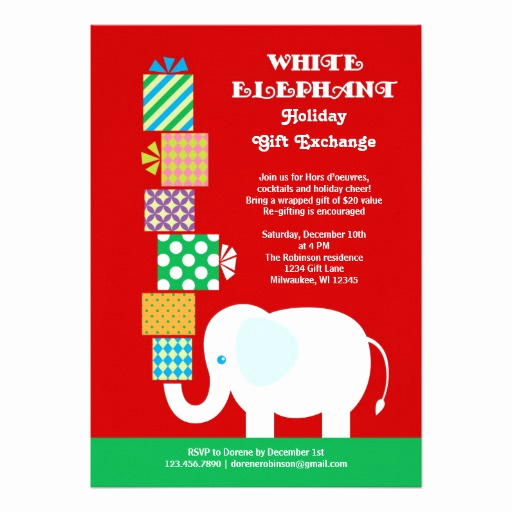 "White Elephant Gift Exchange Invitation Awesome White Elephant Holiday Gift Exchange Invitation 5"" X 7"