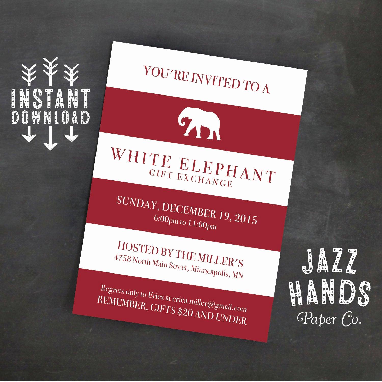 White Elephant Gift Exchange Invitation Awesome White Elephant Invitation Template Diy Printable White