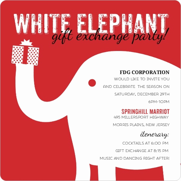White Elephant Gift Exchange Invitation Beautiful White Elephant Business Holiday Party Invitation