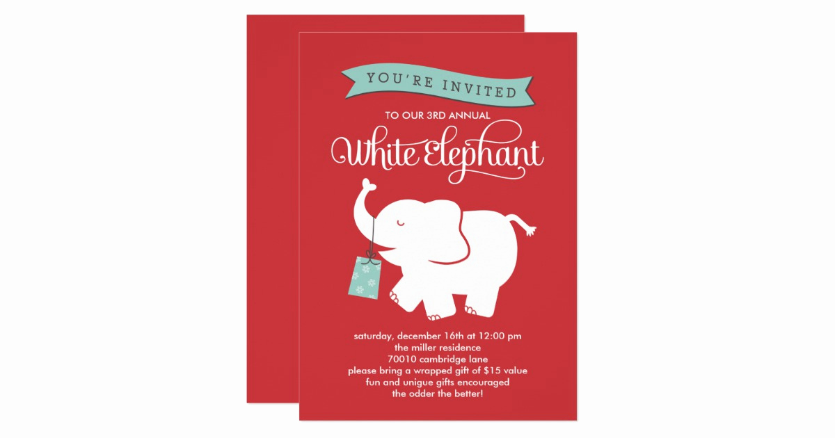 White Elephant Gift Exchange Invitation Best Of White Elephant Gift Exchange Holiday Party Invite