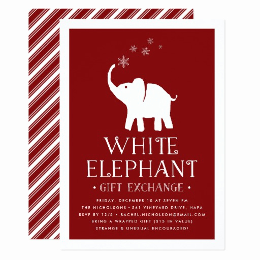 White Elephant Gift Exchange Invitation Elegant White Elephant Gift Exchange Party Invitation