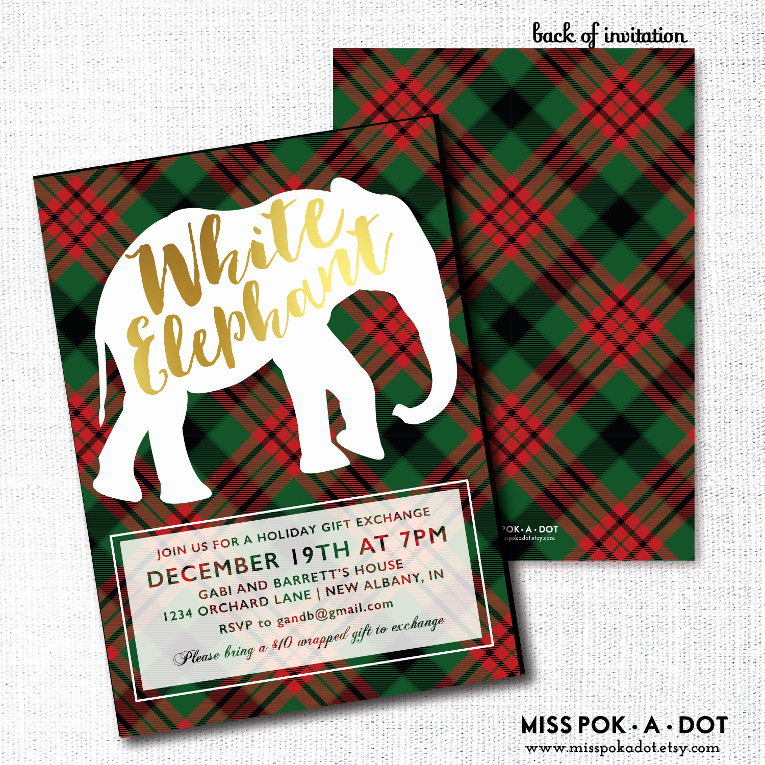 White Elephant Gift Exchange Invitation Elegant White Elephant Party Invitation Printable Gift Exchange