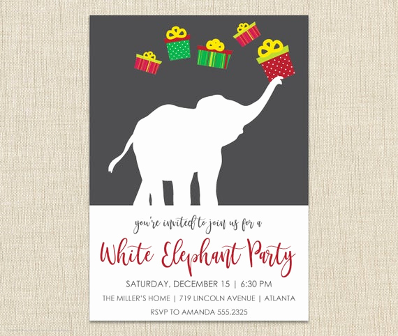 White Elephant Gift Exchange Invitation Inspirational White Elephant Invitationfunny Party Invite White Elephant