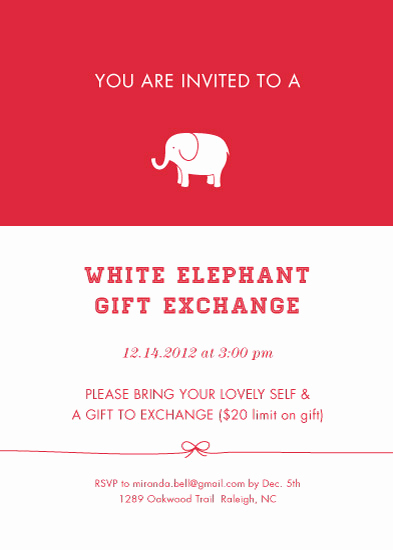 White Elephant Gift Exchange Invitation Lovely Party Invitations Classic White Elephant Exchange at