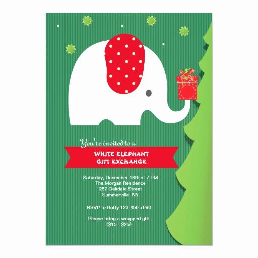 White Elephant Gift Exchange Invitation Lovely White Elephant Gift Exchange Party Invitation