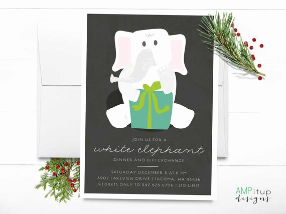 White Elephant Gift Exchange Invitation Lovely White Elephant Party Printable Invitation Funny Party Invite
