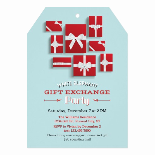 White Elephant Gift Exchange Invitation Luxury Christmas Presents White Elephant Party 5x7 Paper