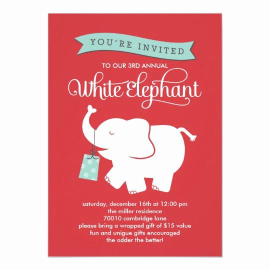 White Elephant Gift Exchange Invitation Luxury White Elephant Gift Exchange Holiday Party Invite