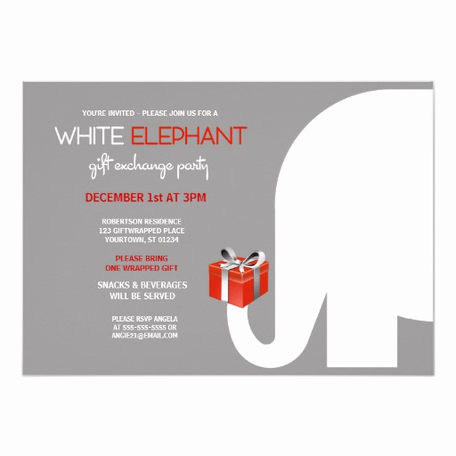White Elephant Gift Exchange Invitation Luxury White Elephant Gift Exchange Red Card