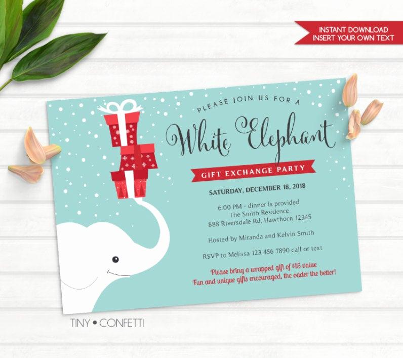 White Elephant Gift Exchange Invitation Luxury White Elephant T Exchange Invitation White Elephant