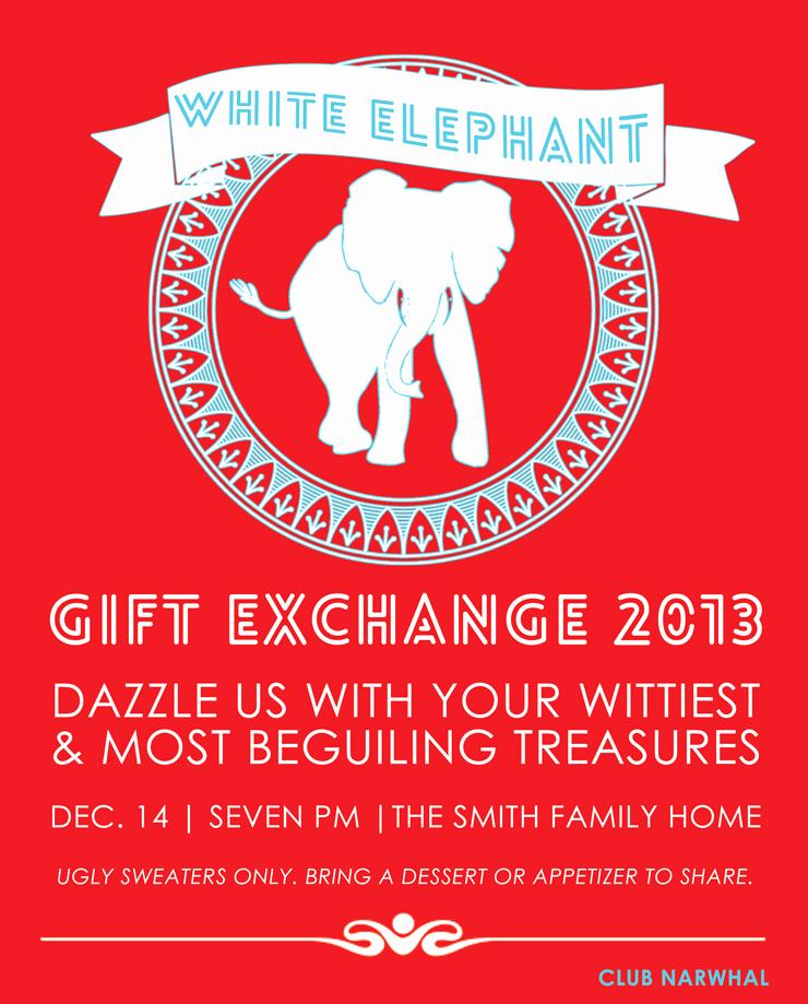 White Elephant Gift Exchange Invitation Unique White Elephant Gift Exchange Free Printable Invitation