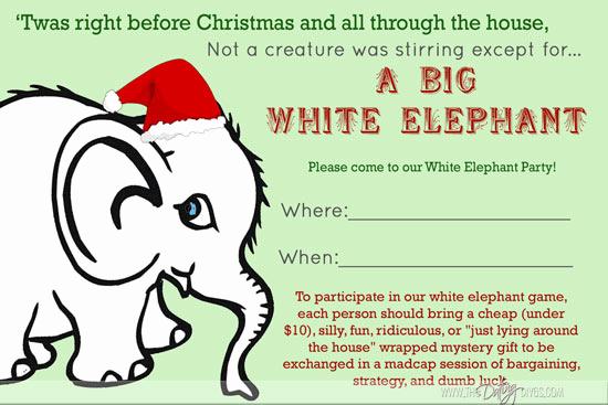 White Elephant Gift Exchange Invitation Unique White Elephant Party