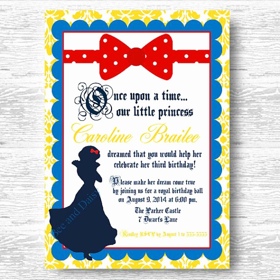 White Party Invitation Ideas New Snow White Invitation for Birthday Party or Baby Shower