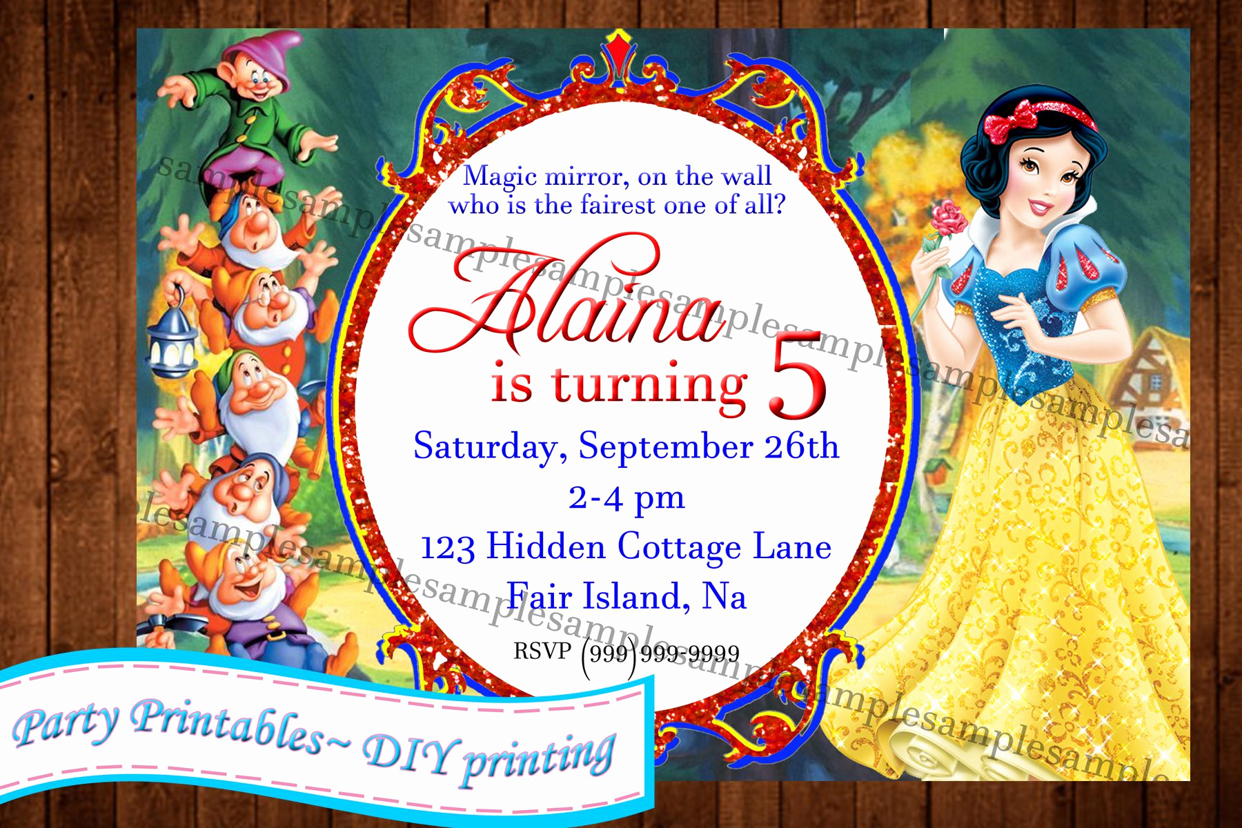 White Party Invitation Ideas New Snow White Invitation Invitations