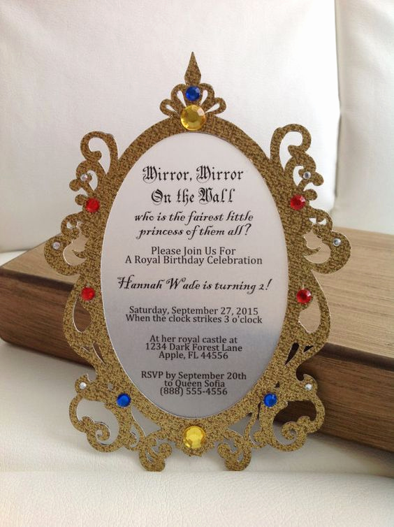 White Party Invitation Ideas Unique Princess Mirror Invitation Set Of 8