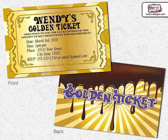 Willy Wonka Golden Ticket Invitation Beautiful Chocolate Factory Invitations Golden Ticket Invitations