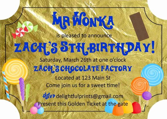 Willy Wonka Golden Ticket Invitation Beautiful Sheila On Etsy