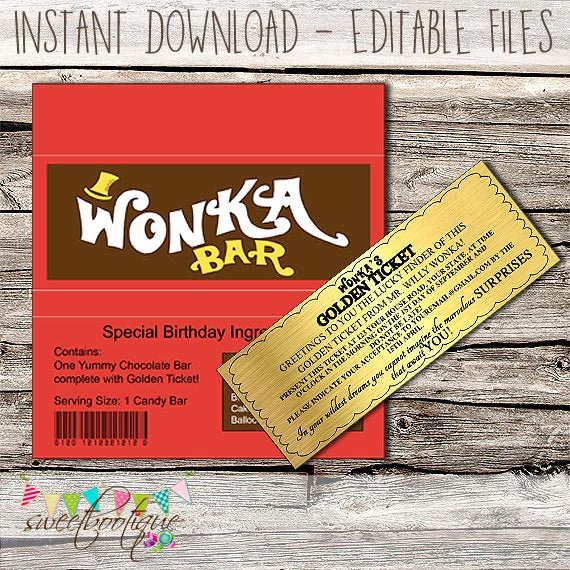 Willy Wonka Golden Ticket Invitation Best Of Willy Wonka Golden Ticket Invitation & Chocolate Wrapper