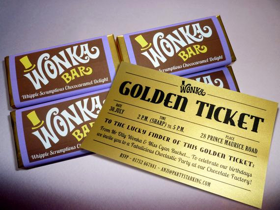Willy Wonka Golden Ticket Invitation Best Of Wonka Bar & Golden Ticket Invitations Printed by Partystarking