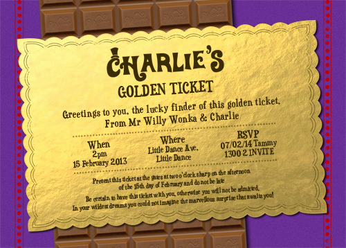 Willy Wonka Golden Ticket Invitation Elegant Invitations Wonka Golden Ticket