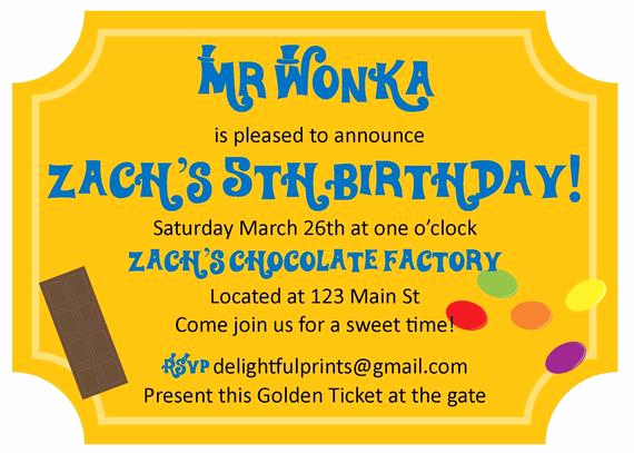 Willy Wonka Golden Ticket Invitation Elegant Items Similar to Willy Wonka Golden Ticket Inspired