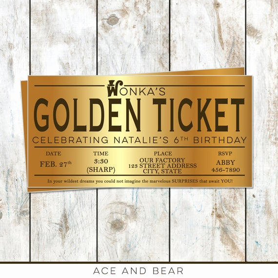Willy Wonka Golden Ticket Invitation Elegant Willy Wonka Birthday Golden Ticket Birthday Invitation