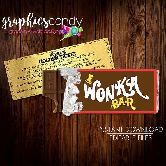 Willy Wonka Golden Ticket Invitation Fresh Willy Wonka Golden Ticket Invitation & Chocolate Wrapper