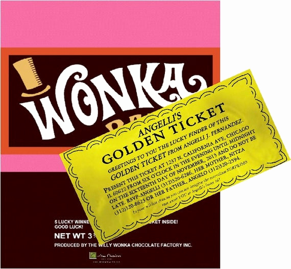 Willy Wonka Golden Ticket Invitation Inspirational Custom Willy Wonka Bar Golden Ticket Party by Custompartyplace