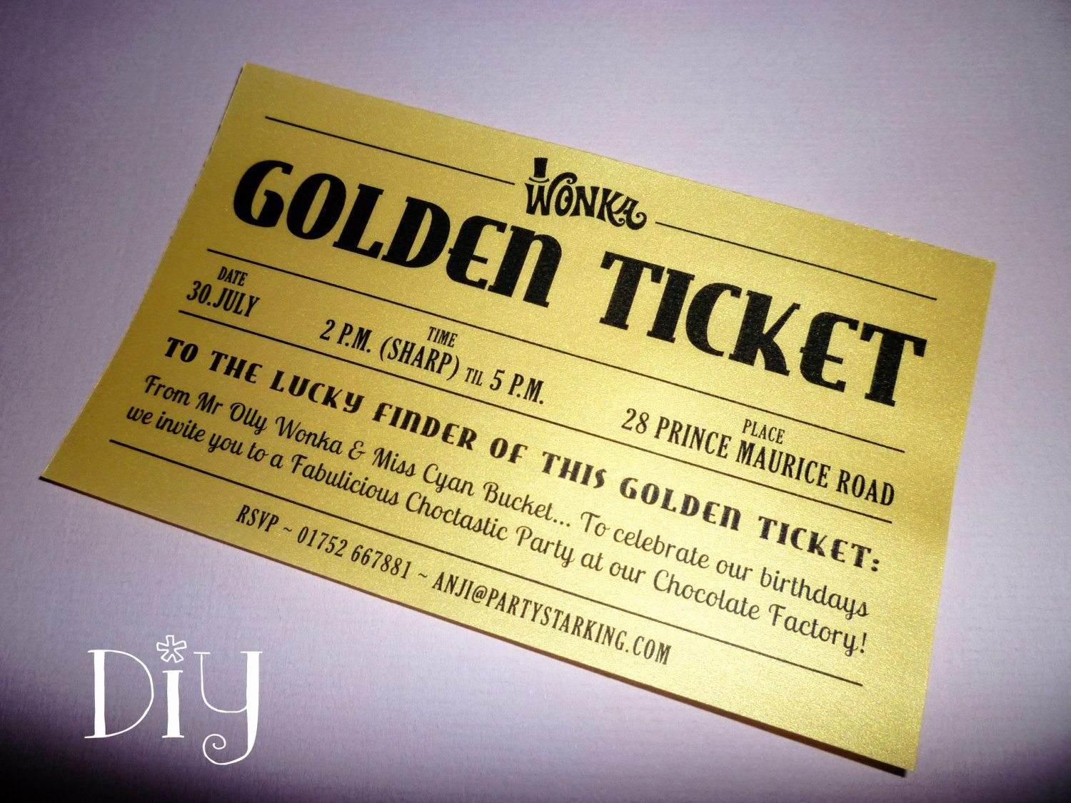 Willy Wonka Golden Ticket Invitation Lovely Golden Ticket Invitations Printable Willy Wonka