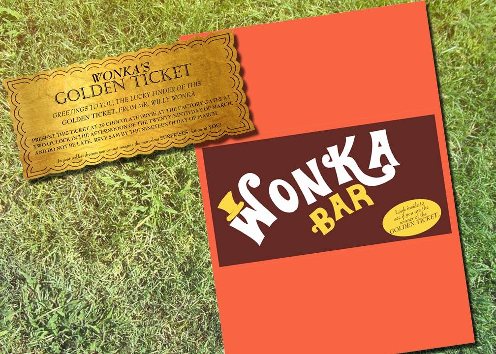 Willy Wonka Golden Ticket Invitation Lovely Willy Wonka Personalized Golden Ticket & Chocolate Bar Wrapper
