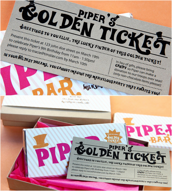 Willy Wonka Golden Ticket Invitation Lovely Willy Wonka themed Party