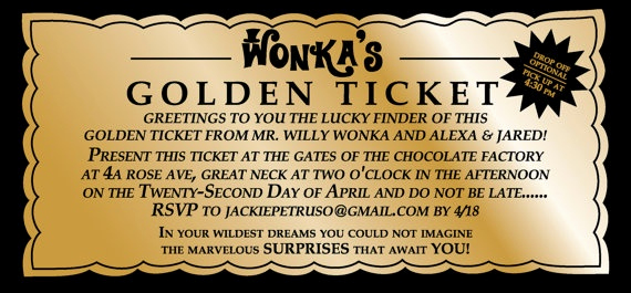 Willy Wonka Golden Ticket Invitation Luxury Willy Wonka Golden Ticket Party Invitation Digital by