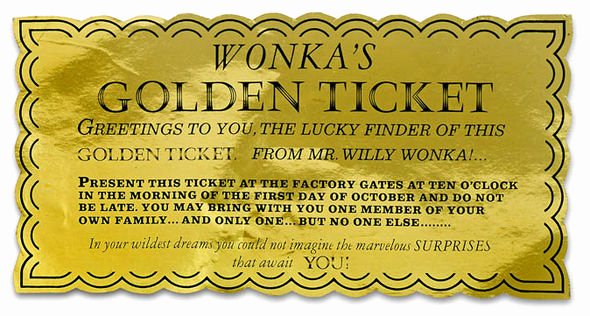 Willy Wonka Golden Ticket Invitation New Charlie and the Chocolate Factory S Golden Ticket is Up