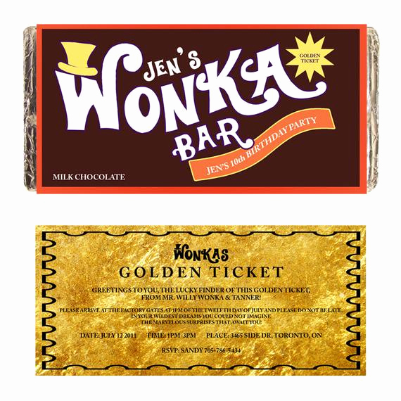 Willy Wonka Golden Ticket Invitation New Custom Wonka Bar Hershey Lindt Label Printable Digital