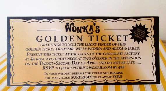 Willy Wonka Golden Ticket Invitation Unique Willy Wonka Golden Ticket Invitation Digital by Sweetlex