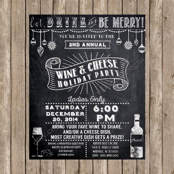 Wine and Cheese Invitation Best Of Chalkboard Wine Party Invitation Printable by