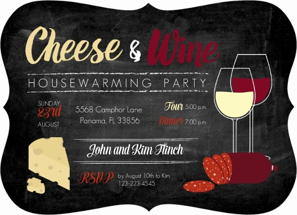 Wine and Cheese Invitation Best Of Cheese and Wine Housewarming Party Invitation