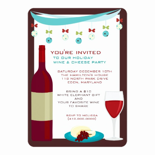 Wine and Cheese Invitation Lovely Holiday Wine & Cheese Party Invitations