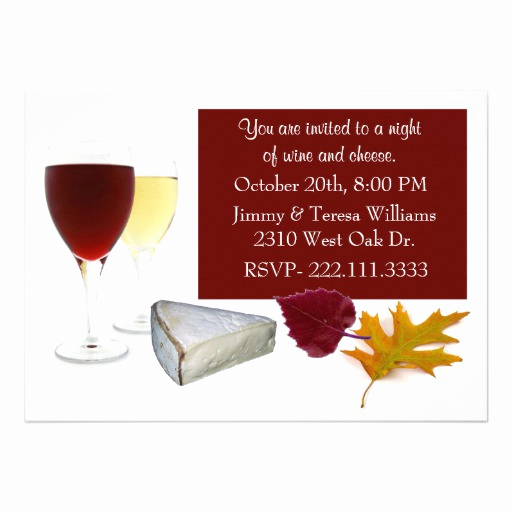 Wine and Cheese Invitation Unique Fall Leaves Wine and Cheese Party Invitation