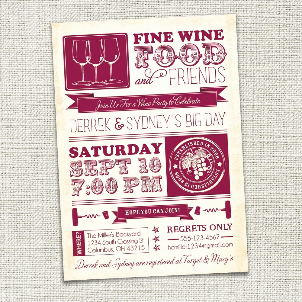 Wine Tasting Invitation Wording Lovely Wine Party Invitation Wine Tasting Couples Shower