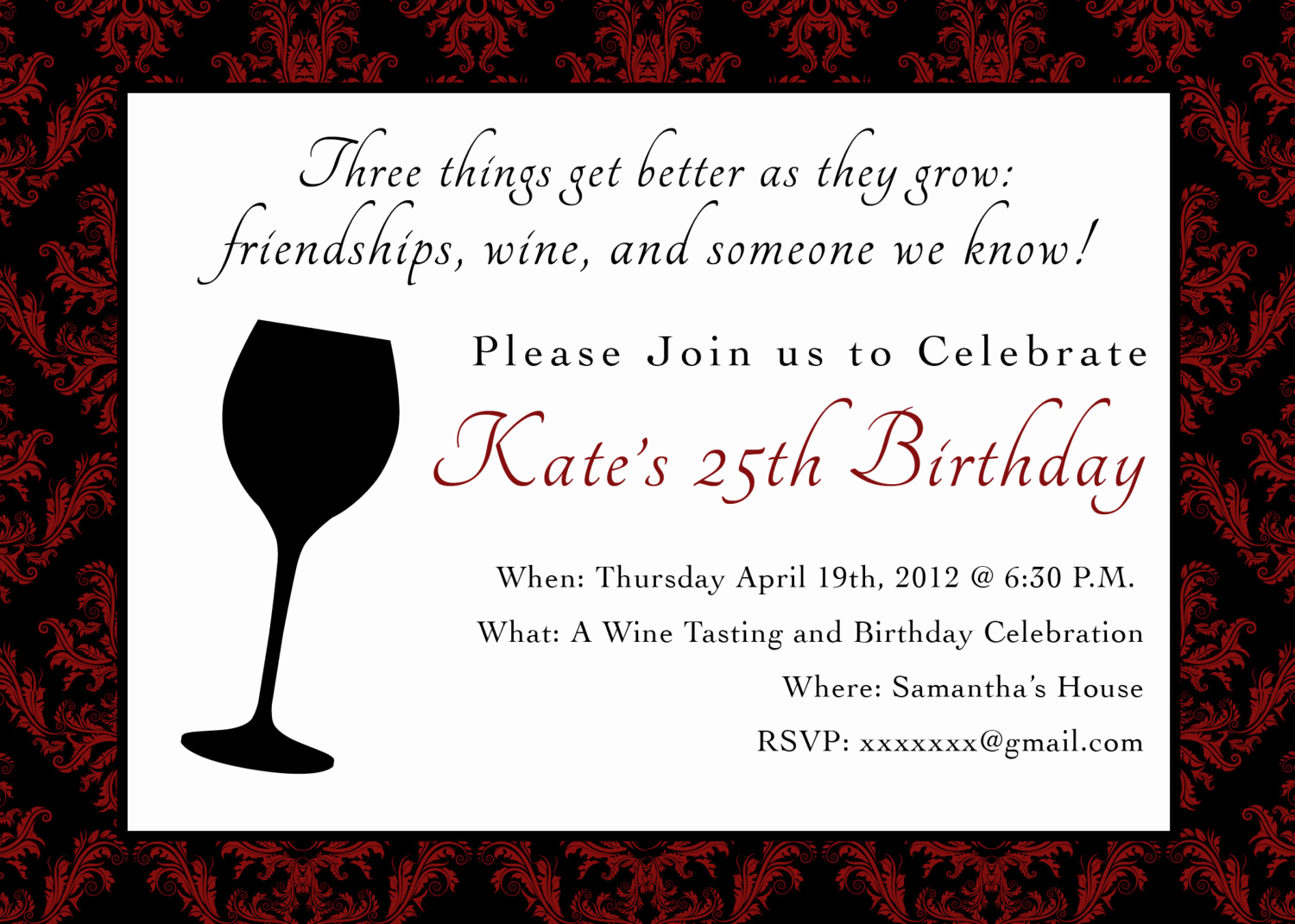 Wine Tasting Invitation Wording Unique Printable Birthday Party Invitation 5 X 7 Wine themed