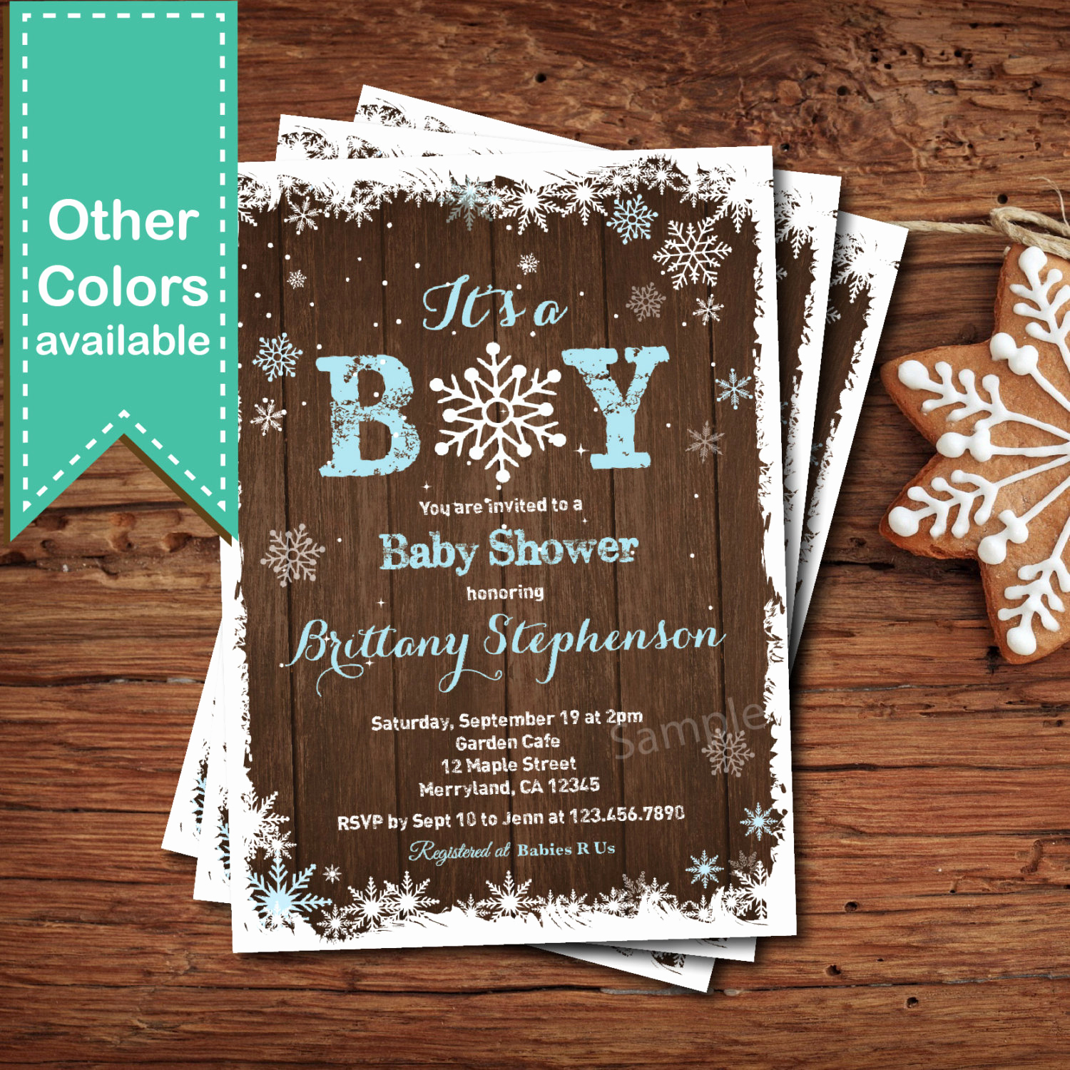 Winter Baby Shower Invitation Awesome Winter Baby Boy Shower Invitation Rustic Wood Snowflakes