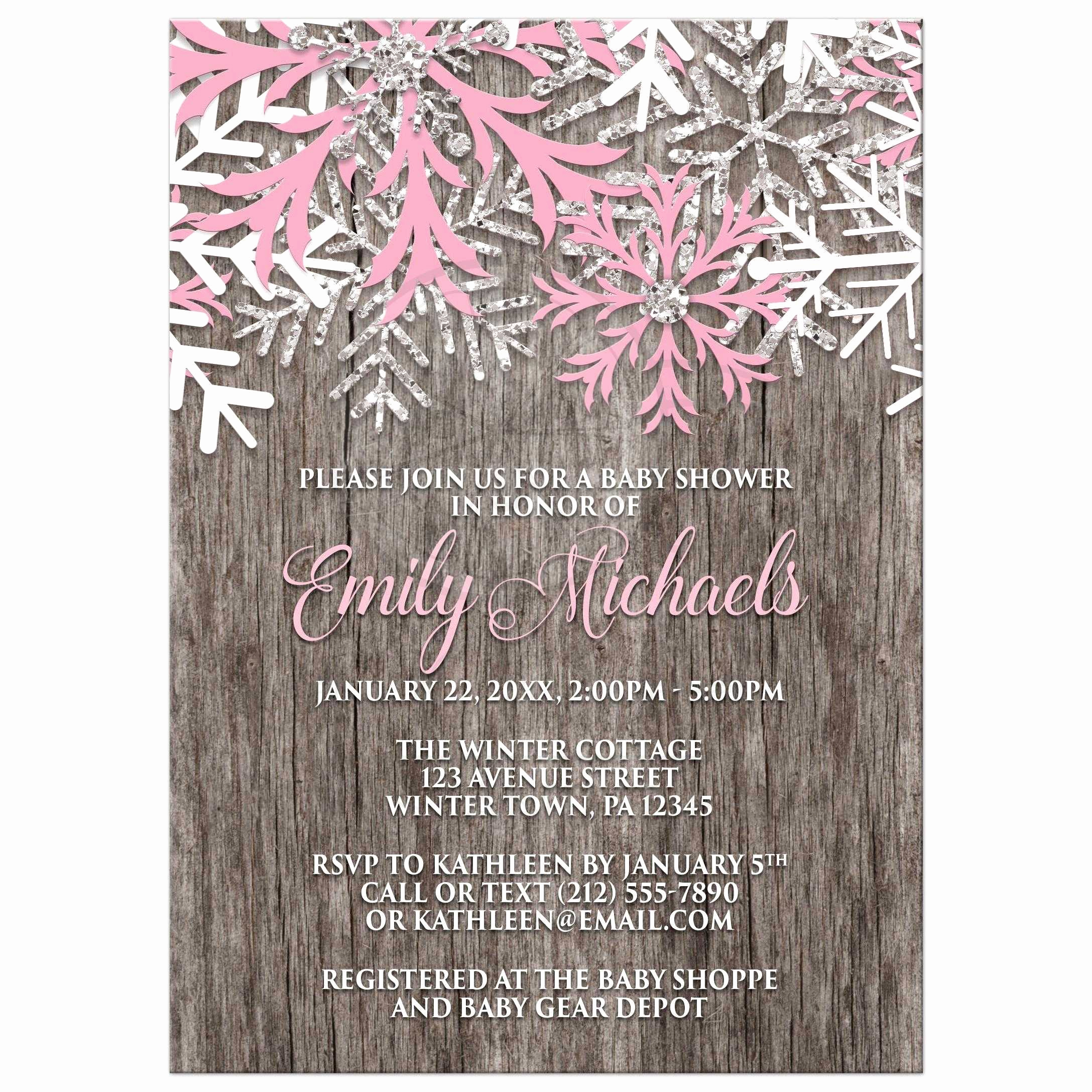 Winter Baby Shower Invitation Best Of Baby Shower Invitations Pink Snowflake Rustic Winter Wood