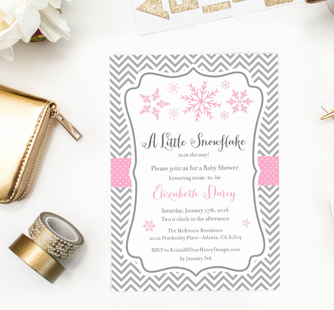 Winter Baby Shower Invitation Elegant Little Snowflake Baby Shower Invitation Winter Wonderland