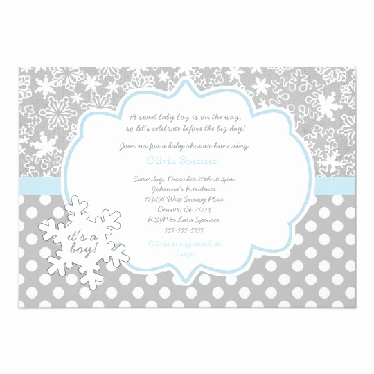 Winter Baby Shower Invitation Elegant Snowflake Winter Wonderland Baby Shower Invitation