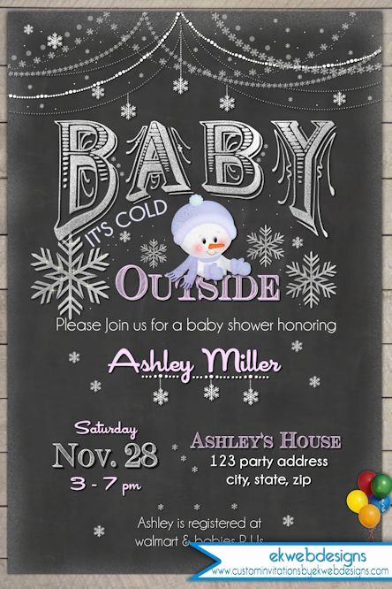 Winter Baby Shower Invitation Elegant Winter Baby Shower Invitation Baby It S Cold Outside