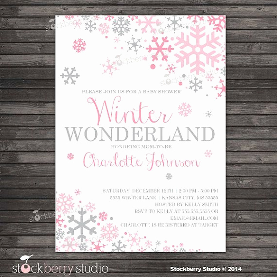 Winter Baby Shower Invitation Inspirational Girl Winter Baby Shower Invitation Pink and Gray Winter