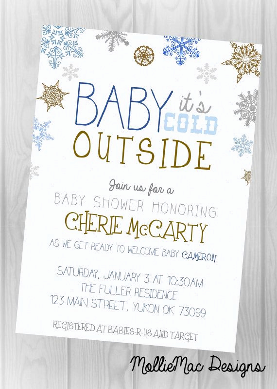 Winter Baby Shower Invitation Lovely Custom Digital Printable Invitation Winter themed Baby