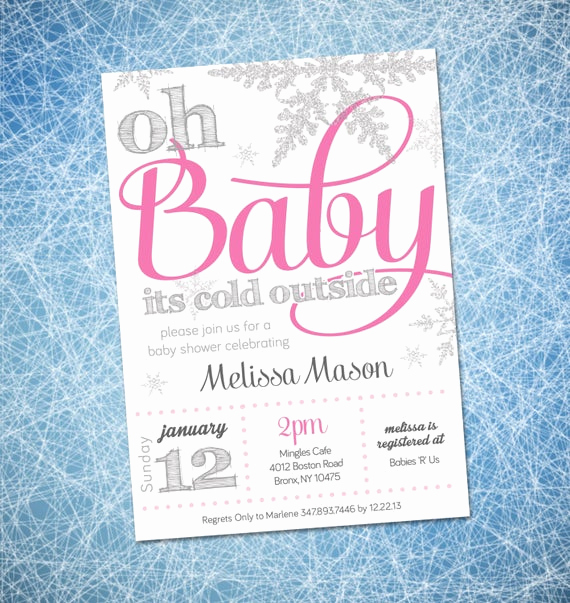 Winter Baby Shower Invitation New Baby Shower Invitation Winter Wonderland theme by