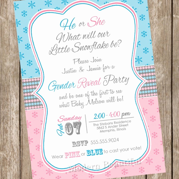 Winter Baby Shower Invitation New Winter Gender Reveal Snowflake Baby Shower Invitation Winter